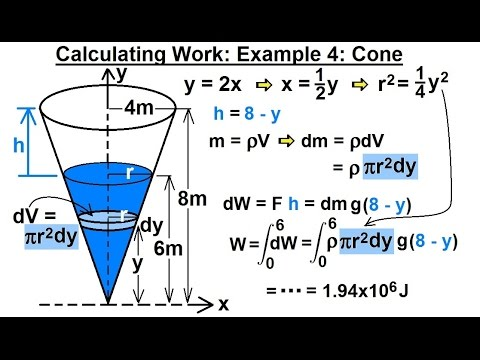 Calculus 2: Apllications - Calculating Work (5 of 16) Calculating Work Example 4: Cone