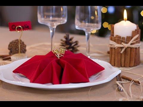 DIY Noël :  Pliage de serviette en forme de flocon