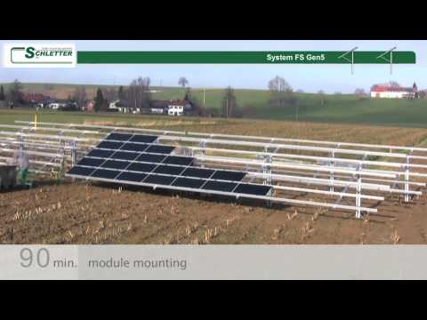 Ground mount solar panel installation with time lapse photography