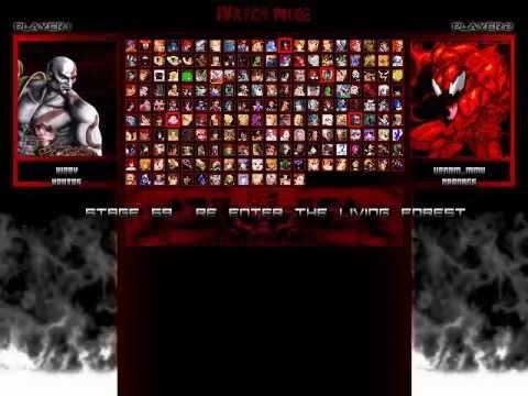 TK's Random Mugen Battle #1985 - Kirby & Kratos VS Venom & Carnage