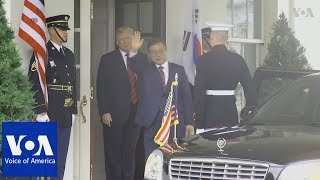 President Trump welcomes South Korean President Moon to the White House - VOAVIDEO