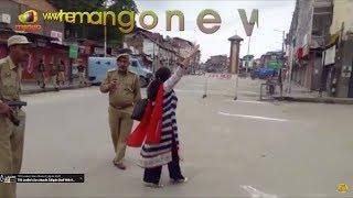 Lady Pandit Chants Bharath Matha Ki Jai Slogans In Srinagar | Mango News - MANGONEWS