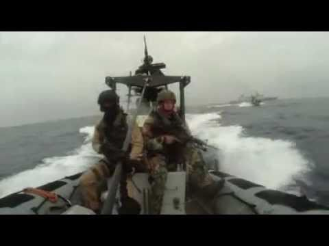 Dutch Navy Soldiers Shooting at Pirates and Arresting Them.