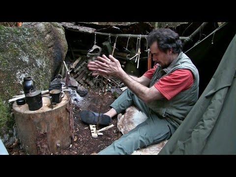 Tagebuch eines Waldläufers Teil 3 - Zurück zu den Wurzeln Hand Drill Steinzeit Feuer, Didgeridoo