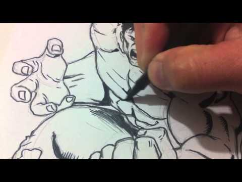 Drawing and Inking The Hulk
