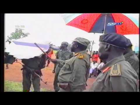 John Garang de Mabior speaks about Sudan People's Liberation Army flag