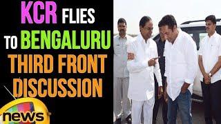 Telangana CM KCR Flies To Bengaluru | Third Front Discussion | Mango News - MANGONEWS