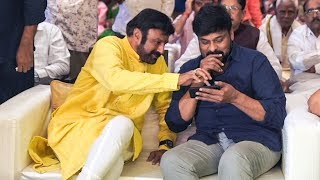 Chiranjeevi and Balakrishna at Kodi Ramakrishna Daughter Pravallika Engagement - TFPC