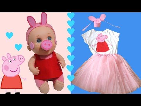 Cómo hacer disfraz de Peppa Pig para niñas y muñecas