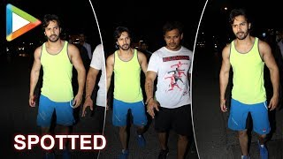 Varun Dhawan Spotted at gym training hard for his film KALANK - HUNGAMA