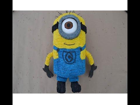 Como hacer una Piñata de minion (mi villano favorito)