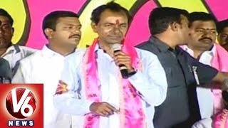 2014 Polls : TRS Chief KCR Sops Public in Hanumakonda Meet - V6NEWSTELUGU