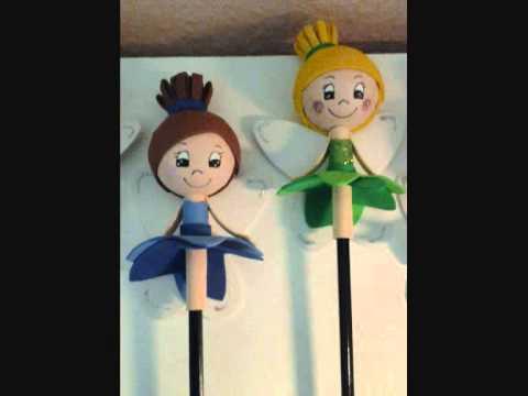 Muñecos de goma eva en lapices
