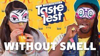 Tasting Food Without Smell OR Sight 🙈🙉 TASTE TEST! - FOODNETWORKTV