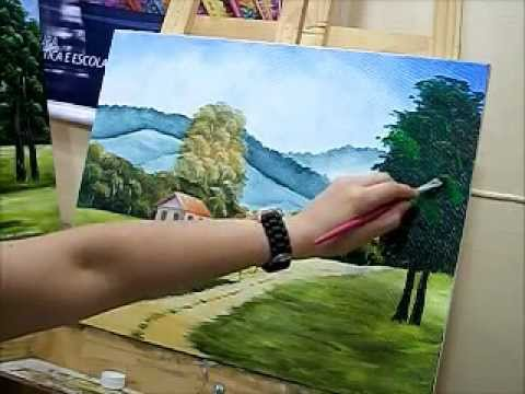Como pintar estrada, cerca e rvore - How to paint tree - how to paint landscape