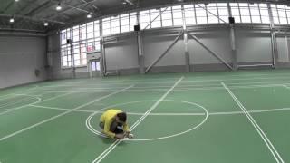 Нанесение разметки в многофункциональном спортивном зале.