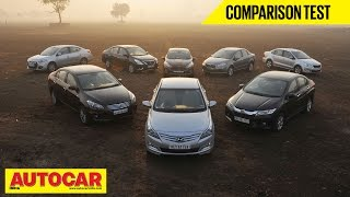8 Car Showdown | Mid-Size Sedan Comparison Test | Autocar India - Honda Videos