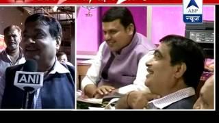 Happy in Delhi says Gadkari l Fadnavis visits his house on Diwali - ABPNEWSTV
