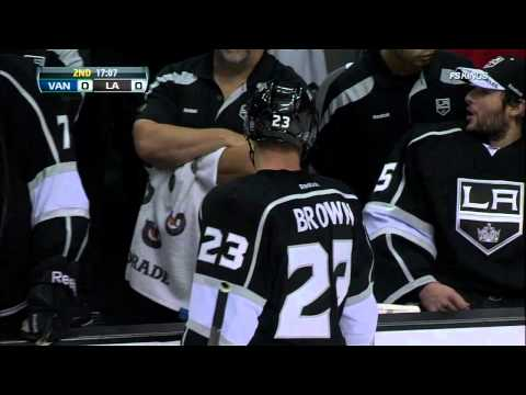 Dustin Brown cranks Henrik Sedin. Burrows fight. Vancouver Canucks vs LA Kings 4/15/12 NHL Hockey