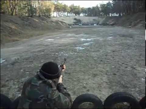 Strzelanie z kałacha AKMS na 100m