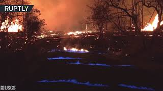 Hawaii burns blue as methane gas from Kilauea volcano ignites - RUSSIATODAY