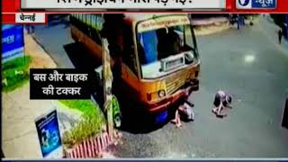 Chennai: Miraculous escape for 3 drunk boys after hitting a fast moving bus with their motorcycle - ITVNEWSINDIA