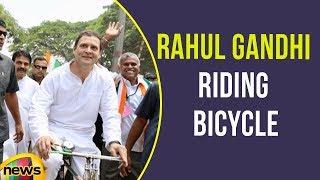 Rahul Gandhi Riding Bicycle in Karnataka During a Road Show | Mango News - MANGONEWS