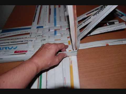 Como hacer cestas de papel de periodico