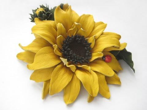 ClipXaab:Мастер-класс цветы из кожи. Подсолнух.