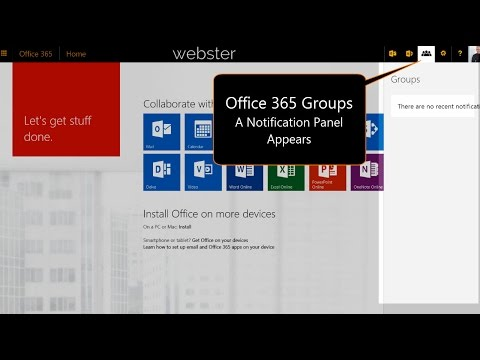 Office 365 Groups Notification Panel Appears
