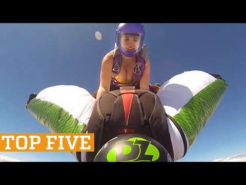 TOP FIVE: Wingsuit Rodeo, Juggling & Downhill MTB | PEOPLE ARE AWESOME 2016