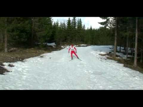 First X-Country skiing imitation w/Oddbjrn Hjelmeseth and Marit Bjrgen