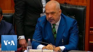 Albanian PM Sprayed With Ink by Opposition Lawmaker - VOAVIDEO