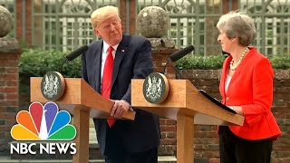 President Donald Trump, Theresa May Laugh Off Brexit Bombshell Interview As 'Fake News' | NBC News - NBCNEWS