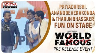 Priyadarshi & Anand Deverakonda & Tharun Bhascker Fun on Stage @ #WorldFamousLover Pre Release Event - ADITYAMUSIC