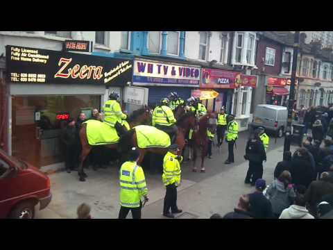 West Ham Stoke City away fans stopped by police. 5 03 2011. Green street; after the game.