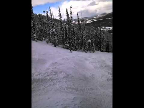 Q skis moguls on upper Gandy Dancer, MJ
