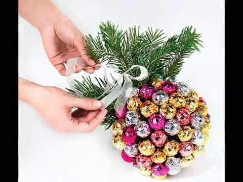Букет из конфет новогодний своими руками мастер класс