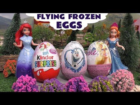 Flying Frozen Elsa Surprise Eggs Huevo Kinder Sorpresa Play Doh Princess Ariel Anna Barbie Thomas