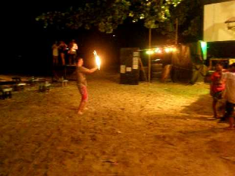 thailand fire ball swinging.