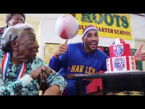 107-year old dances with Harlem Globetrotters