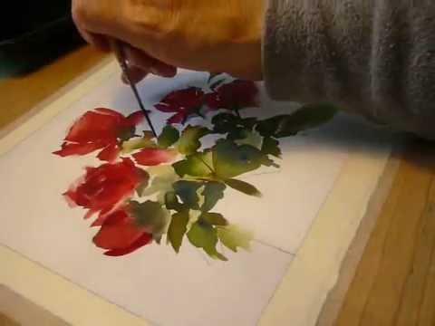 Pintando rosas a la acuarela en mi estudio. Painting red roses with watercolors