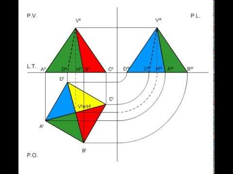 proiezioni ortogonali di una piramide retta a base quadrata