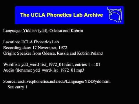 Yiddish, Eastern audio: ydd_word-list_1972_01