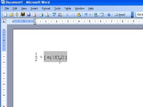 how to type fraction bar in microsoft word