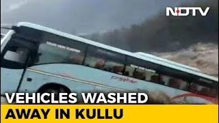 On Camera, Luxury Tourist Bus Washed Away By Flooded River Near Manali - NDTV