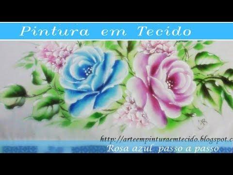 Pintura em Tecido Rosa Azul