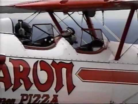 WTVH Channel 5 News - Keith Kobland rides a Red Baron pizza plane - Early 1990s - Syracuse, NY