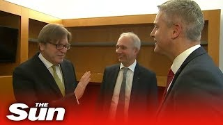 Verhofstadt's very awkard joke around with David Lindington - THESUNNEWSPAPER