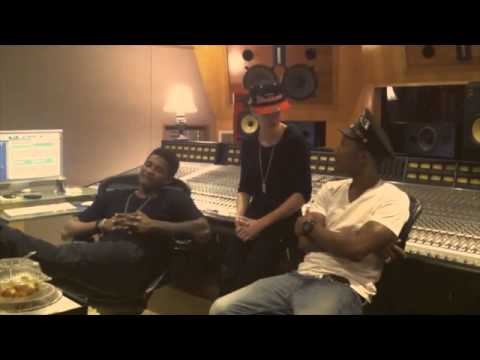 Justin Bieber Pharrell and Usher in the studio talking christmas